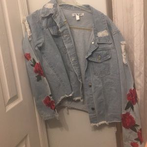 Say What? Jackets & Coats - Ripped rose embroidery jean jacket
